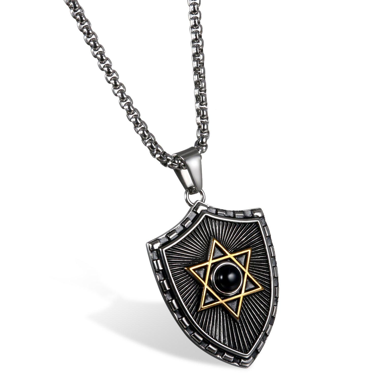 JewelryWe Schmuck Retro Herren Halskette Blau//Schwarz Gold Silber Edelstahl Achat Schild Gl/ücklich J/üdischen Davidstern Anh/änger mit 60cm Kette