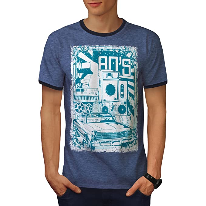 1ae94942478 wellcoda 8s Music Car Vintage Mens Ringer T-Shirt, Music Graphic Print Tee  Heather