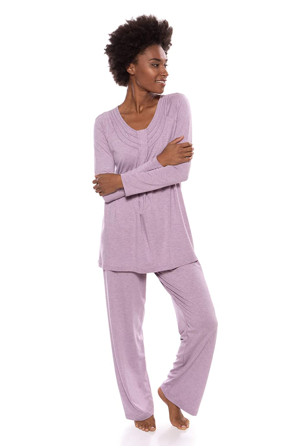 46ed746313 Women s Long Sleeve PJs in Bamboo Viscose (Replenish) Cozy Pajama Set by  Texere at Amazon Women s Clothing store