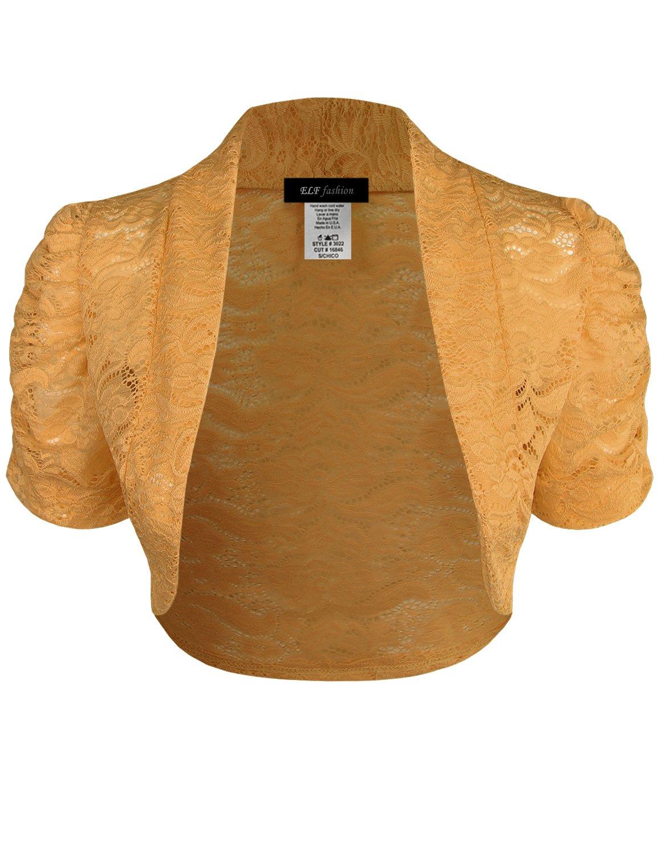 ELF FASHION Women Top Short Sleeve Floral Lace Shrug Open Front Bolero Cardigan (Size S~3XL) Yellow 2XL