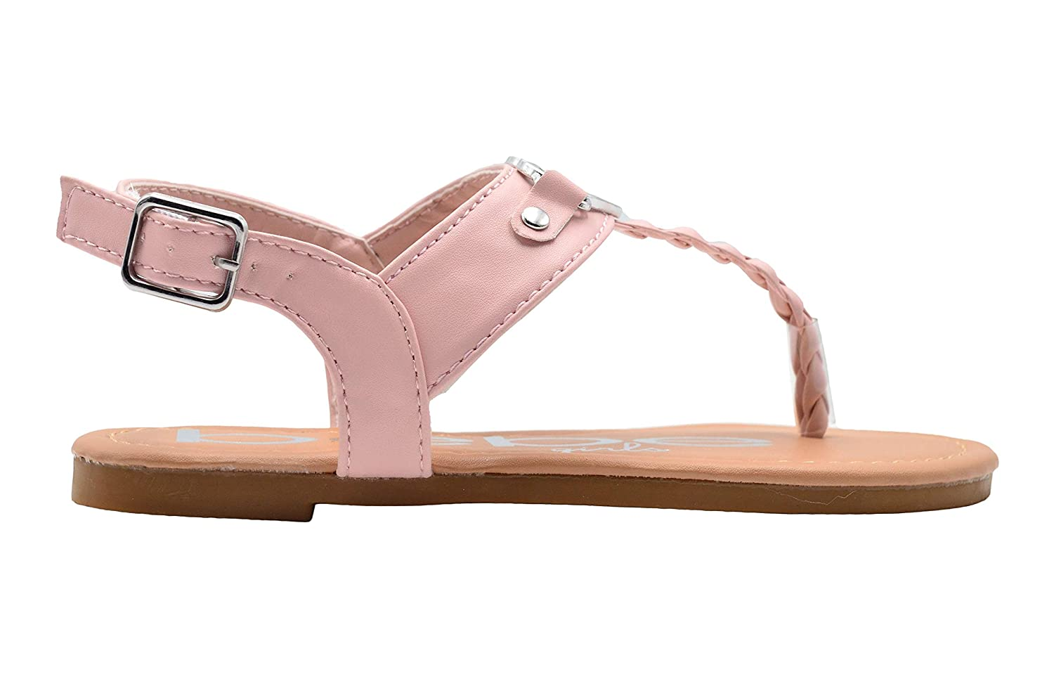 bebe Girls Fashion Sandals Slingback Thong Summer Flat Shoes with Braided Strap