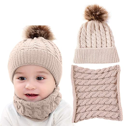 df35bdc953f DRESHOW BQUBO 2 Pack Baby Winter Knit Hat Toddler Crochet Hat with Necklace  Children抯 Pom