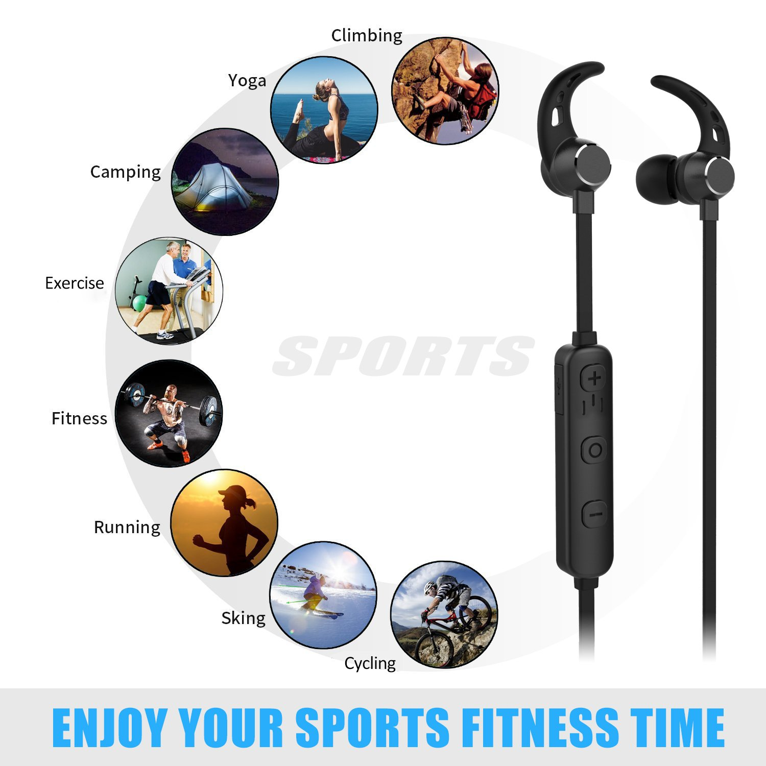 Bluetooth Headphones, Lobkin Wireless v4.1 Sports Sweatproof Workout Running Magnetic Earbuds Secure Fit Sports Headset with Mic for Workout Gym Premium HD Sound Cordless Earphones (Black)
