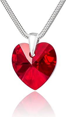 collier argent coeur rouge