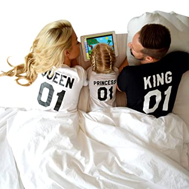 33faf8cb0 Epic Tees King Queen Princess 01 Shirts, Father Mother Daughter Outfit at  Amazon Women's Clothing store: