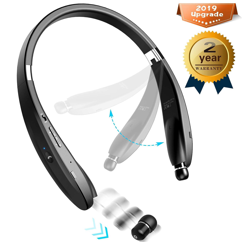 Bluetoothヘッドセットステレオ - アップグレードされたBluetooth 4.1ワイヤレスヘッドフォン 折りたたみ式ネックバンドデザイン 格納式イヤホン すべての携帯電話に対応 B07MS7NT27
