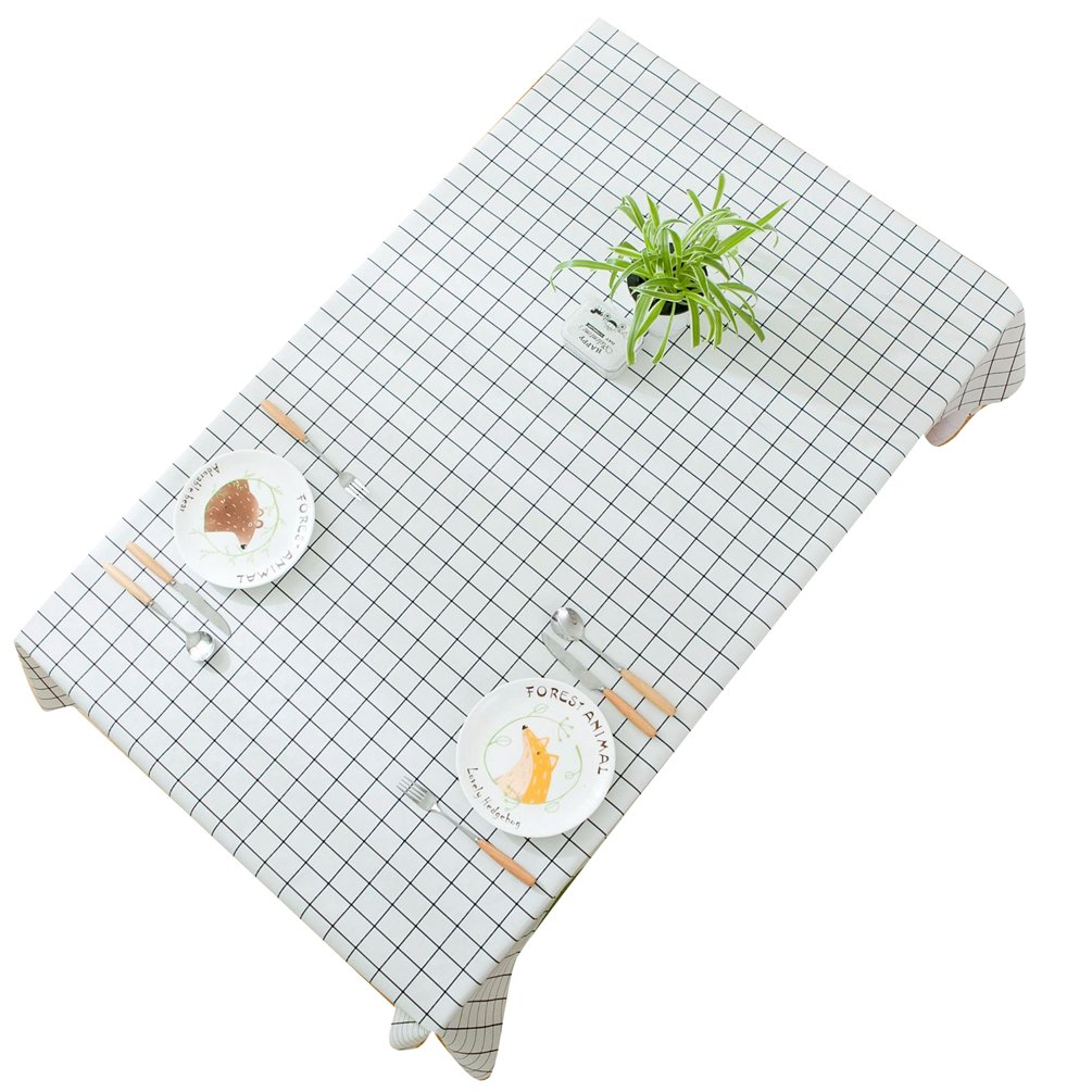 Binhee Elegant Rectangle Tablecloth Waterproof Lattice Household Tablecloths