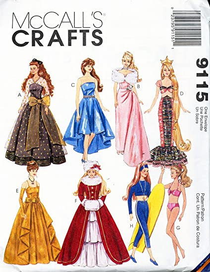 Amazon.com: McCall\'s 9115 Barbie Doll Clothes Sewing Pattern