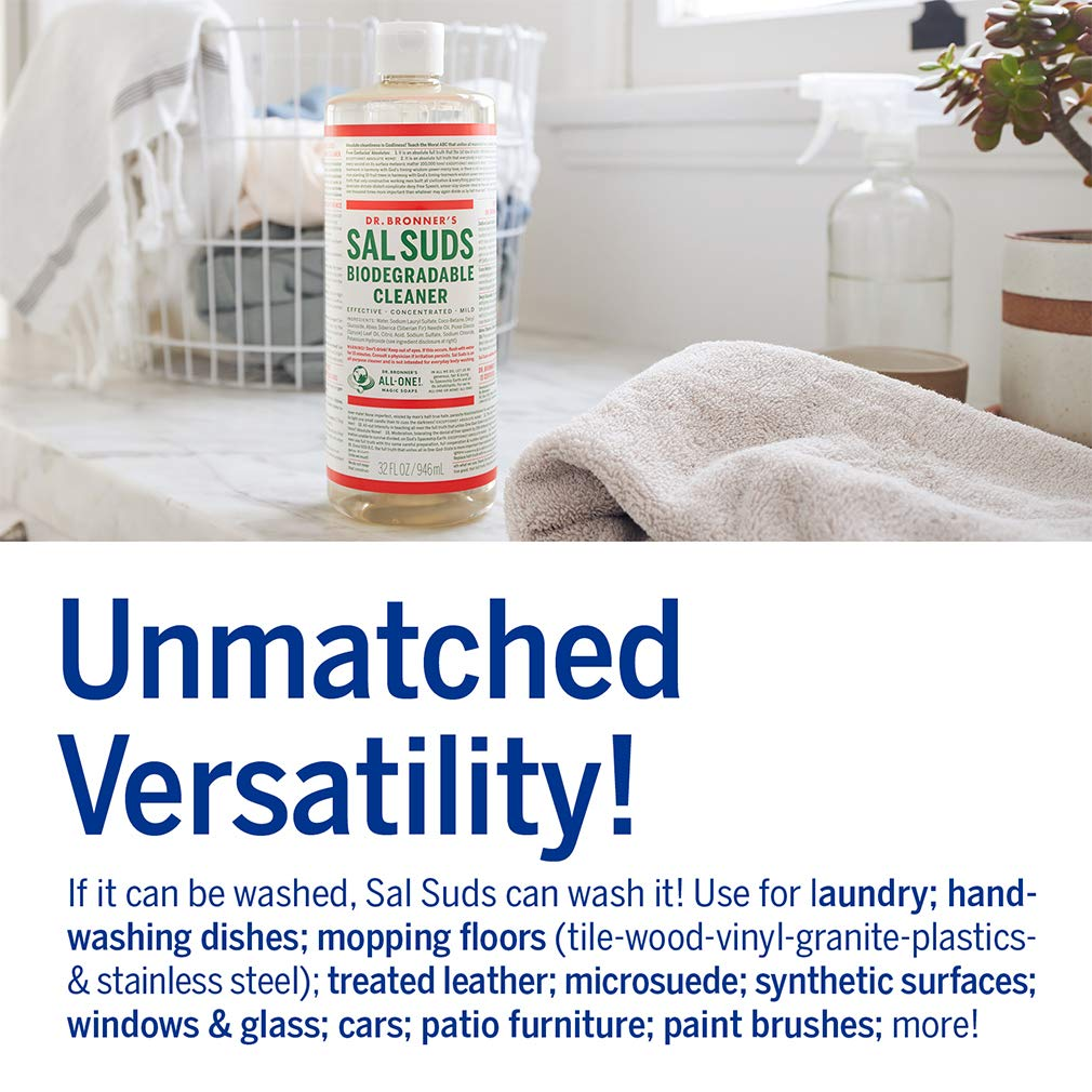 Dr. Bronner's - Sal Suds Biodegradable Cleaner (1 Gallon) - All-Purpose Cleaner, Pine Cleaner for Floors, Laundry and Dishes, Concentrated, Cuts Grease and Dirt, Powerful Cleaner, Gentle on Skin by Dr. Bronner's (Image #4)