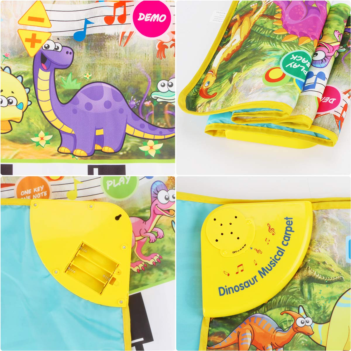 Piano Mat, Tencoz Musical Piano Mat with 8 Dinosaurs Sounds Portable Electronic Educational Musical Blanket Dinosaur Toys Gifts for Kids Toddler Girls Boys by Tencoz (Image #4)