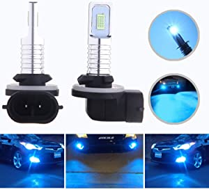 HOCOLO 2x 881 889 862 886 889 894 896 898 LED Bulbs DRL Fog Driving Light Brighting Daytime Running Lamp Replace Halogen 3570 CSP Chips Car Vehicle Parts Plug-N-Play High Power(881_Fog,Ice Blue/8000K)