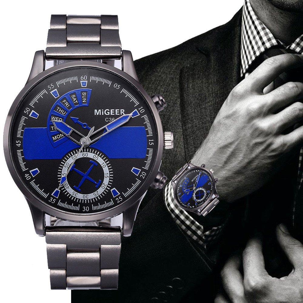 JiaMeng Reloj de Cuarzo para Hombre Correa de Acero Inoxidable de Pulsera de Cuarzo analógico de Acero Inoxidable cristalino de Hombre de Moda(Amarillo): ...