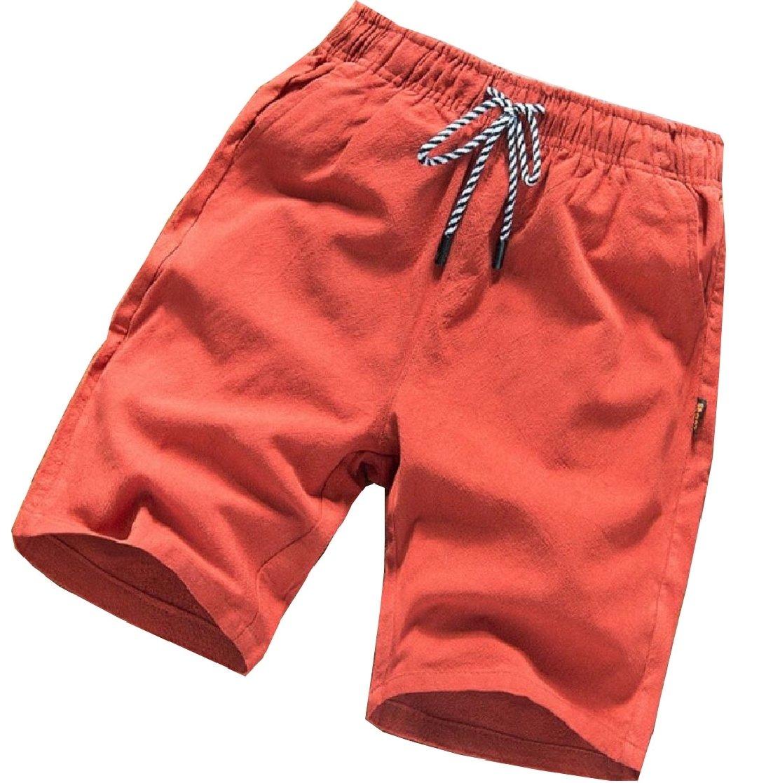Gocgt Men's Summer Elastic Waist Linen Drawstring Beach Short Pant
