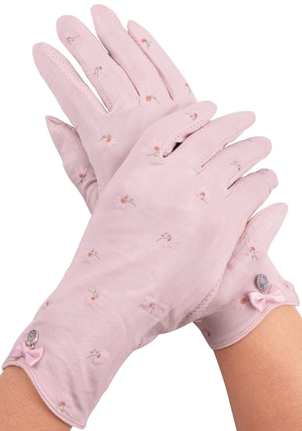 Anti Skid Touchscreen Driving Gloves Women UV Protection Light Pink Cotton Gloves