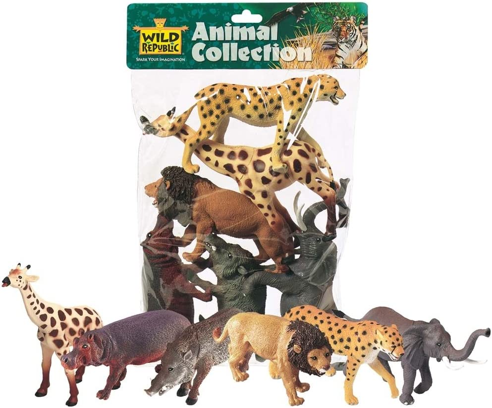 Wild Republic African Animals Polybag, Giraffe, Hippo, Lion, Cheetah, Elephant, Warthog, Toy Figures, 6-Piece
