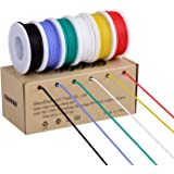 18awg Electronic Wire Kit,Flexible Silicone Wire 6 Color 18 Gauge Hook Up Wire(6 different colored 13 Feet spools) 600V…