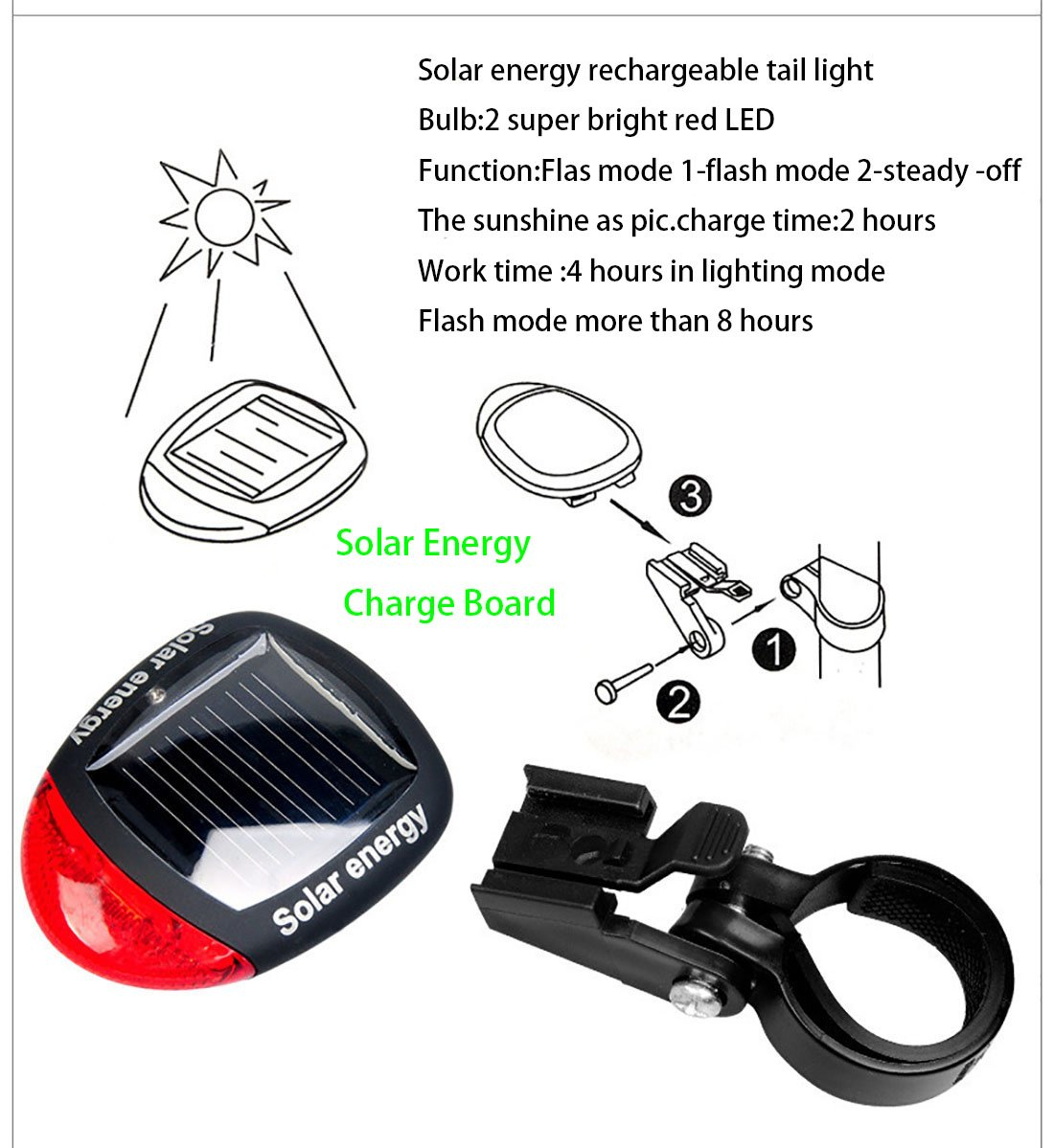 Ultra Bright Bicycle Lights Set - Front Headlights & Horn & Back Taillights, Two(Solar and USB)-in-One Rechargeable LED Bike Front Lights, Waterproof & Safety Road, 1200mAH/1200 Lumens Head Lights. by Juxical (Image #5)