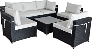 Caymus Patio Furniture Sets Outdoor 7 Pieces Conversation Sets Rattan Wicker Chair with Table Backyard Lawn Porch Garden Poolside Balcony Furniture All Weather Deep Seating (Black)