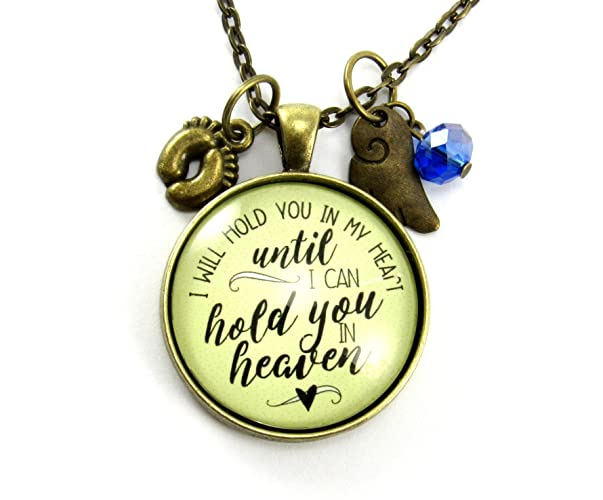 "Miscarriage Jewelry Angel Wing Baby Feet Necklace 'I Will Hold You in My Heart...' Vintage Style Bronze 1.20"" Glass Memorial Pendant with Personalized Birth Month Bead"