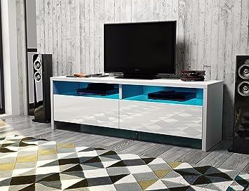 Dione – TV-Lowboard / TV-Bank / Fernsehschrank (100 cm, Weiß Matt ...