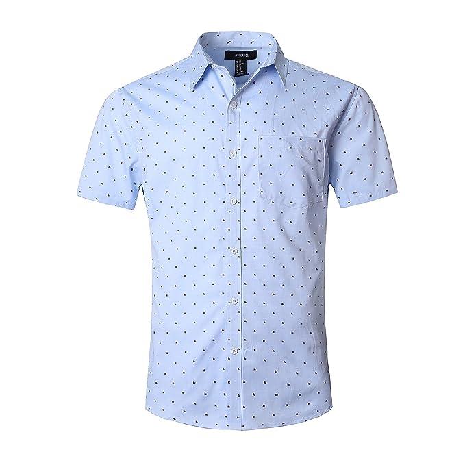 b20727eca NUTEXROL Camisa Superior de Manga Corta con Estampado de Lunares para Hombre  Camisa Casual de Algodón  Amazon.es  Ropa y accesorios