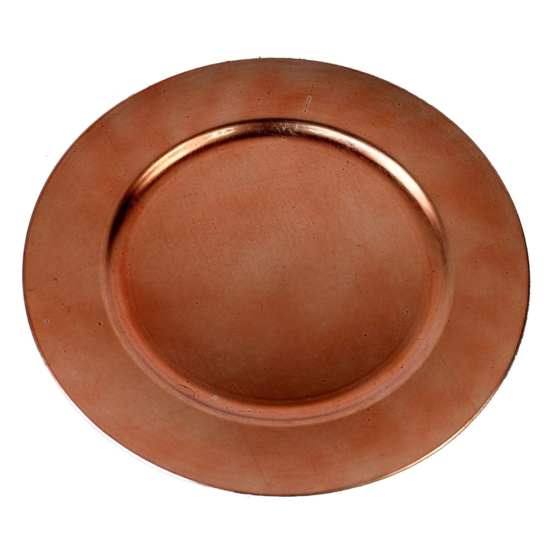 Simpa Set of 6 Round Red Charger Plates - Decorative Metallic Effect Plastic Charger Plates 33cm Diameter - Textured Distressed Metallic Design