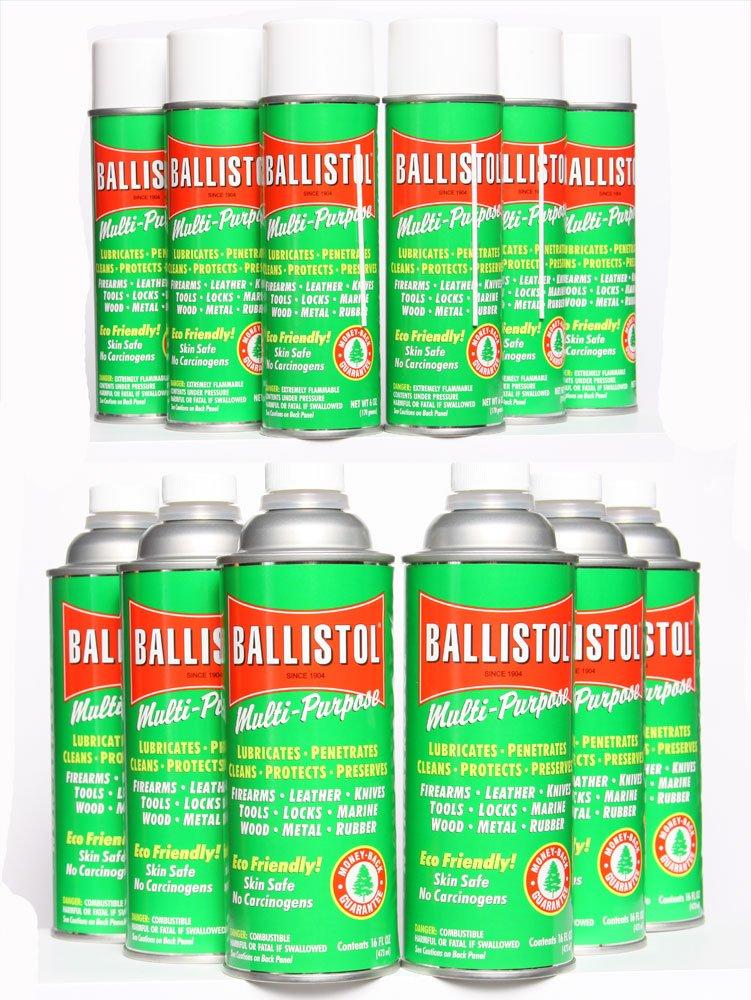 Ballistol Multi-Purpose Lubricant - MIS Kit #5 - Qty.6 of 6oz Aerosol and Qty.6 of 16oz Non-Aerosol Kit
