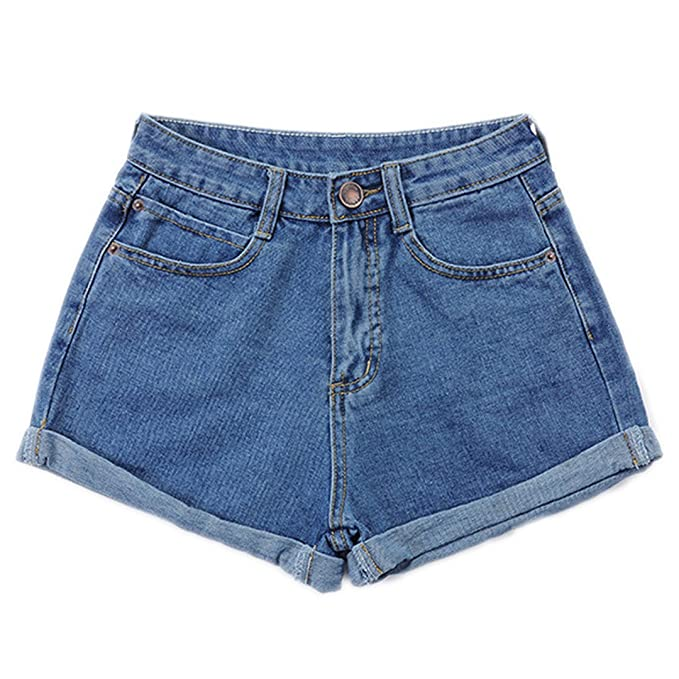 af71040367b Short jeans Vintage High Waist Crimping Denim Shorts Women Slim Casual  Femme Mujer Plus Size at Amazon Women s Clothing store