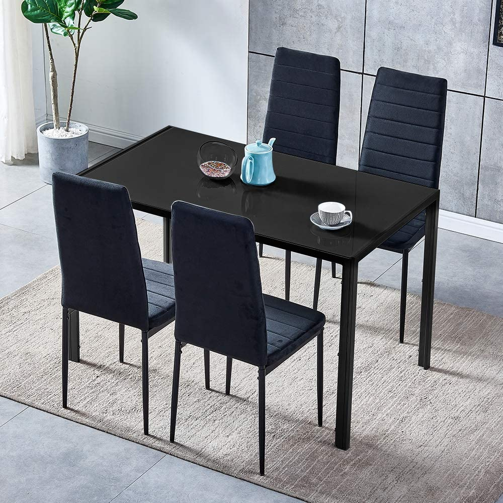 Huisen Furniture 5 Pieces Contemporary Kitchen Glass Table With 4 Grey Velvet Dining Chairs Upholstered For 4 People Black Glass Rectangular Dining Table And Chairs Set Of 4 Small Apartment Dinette Home Kitchen Furniture