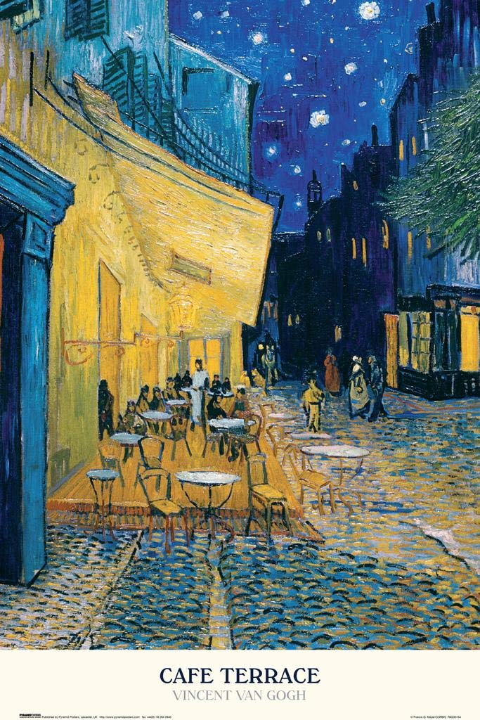 Vincent Van Gogh Cafe Terrace at Night Dutch Post Impressionist Painter Matted Framed Poster 20x26 inch