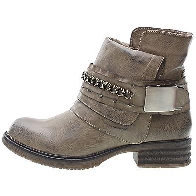 8c5a3e542dbf2 Chaussure Mode Bottine Cavalier Motard Cheville femmes Chaïnes boucle Talon  bloc 3 CM - Intérieur fourrure
