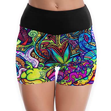 Girls and Womens Seamless Compression Nylon Spandex Stretch Booty Yoga Shorts