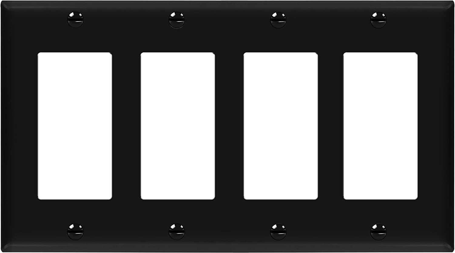 """ENERLITES Decorator Light Switch or Receptacle Outlet Wall Plate, Size 4-Gang 4.50"""" x 8.19"""", Unbreakable Polycarbonate Thermoplastic, UL Listed, 8834-BK, Black"""