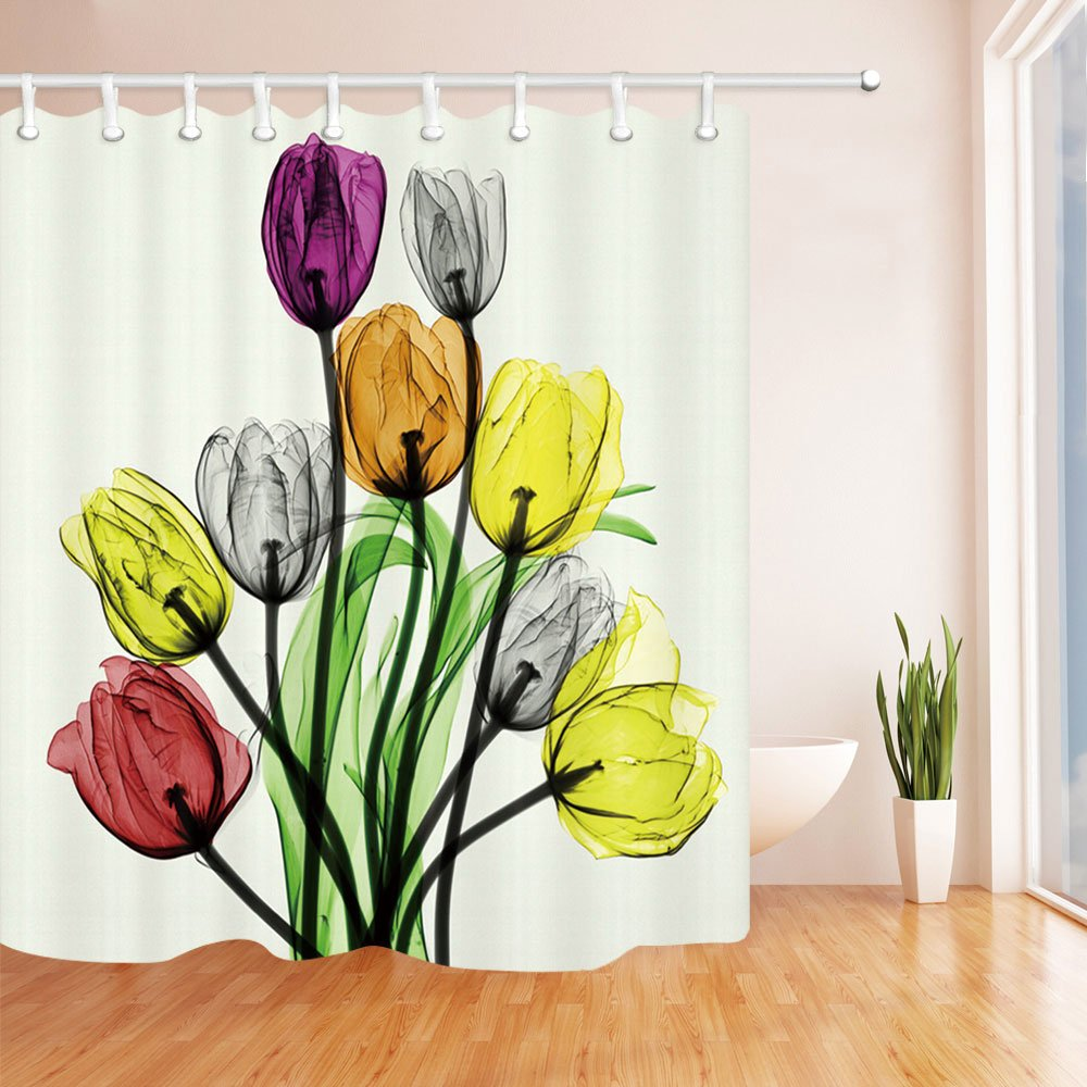 Chengsan Floral Fabric Shower Curtain Set Thick Bathroom Curtains,Purple Orange Coral Tulip Romantic Air,Waterproof Mold Mildew Resistant Unique Art Designed with 12 Stainless Steel Rings
