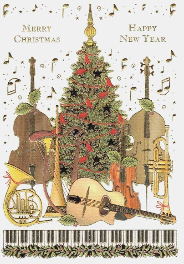 Amazon.com: Musical Instruments and Christmas Tree Boxed Embossed ...