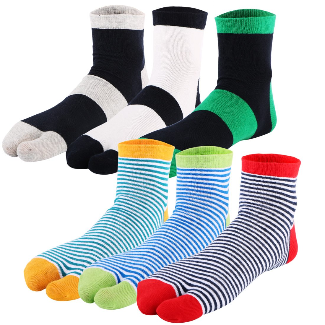 kilofly 6 Pairs Unisex Striped Flip Flop Split 2-Toe Tabi Socks Value Pack FTW517set6