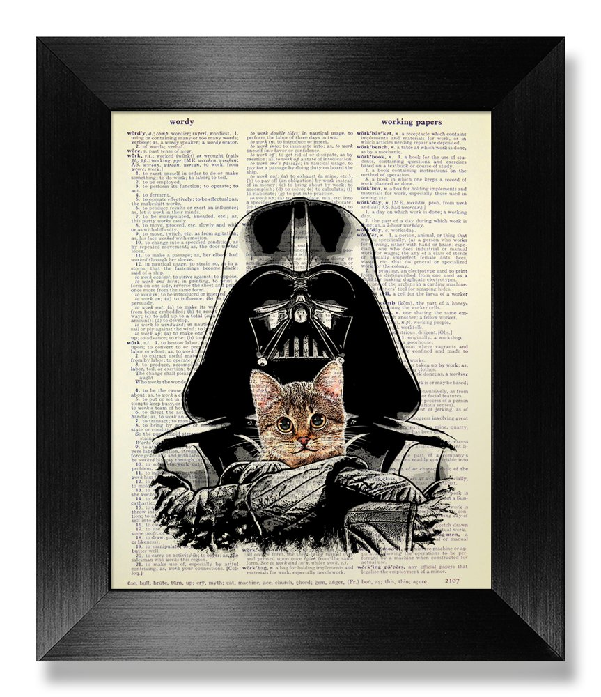Funny Star Wars Gift for Boyfriend Birthday Gift, Darth Vader with Tabby Cat Art Print, Dictionary Art Print, Cool Office Poster, Office Gift for Man Woman Coworker Boss, Boyfriend Gift for Husband
