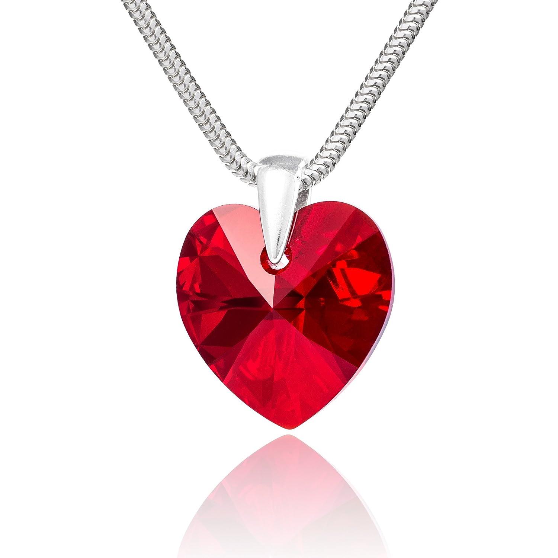 LillyMarie Femme Collier Vrai Argent Swarovski Elements originaux Cœur Rouge Longueur réglable Coffret cadeau Schiller Schmuck LM160043