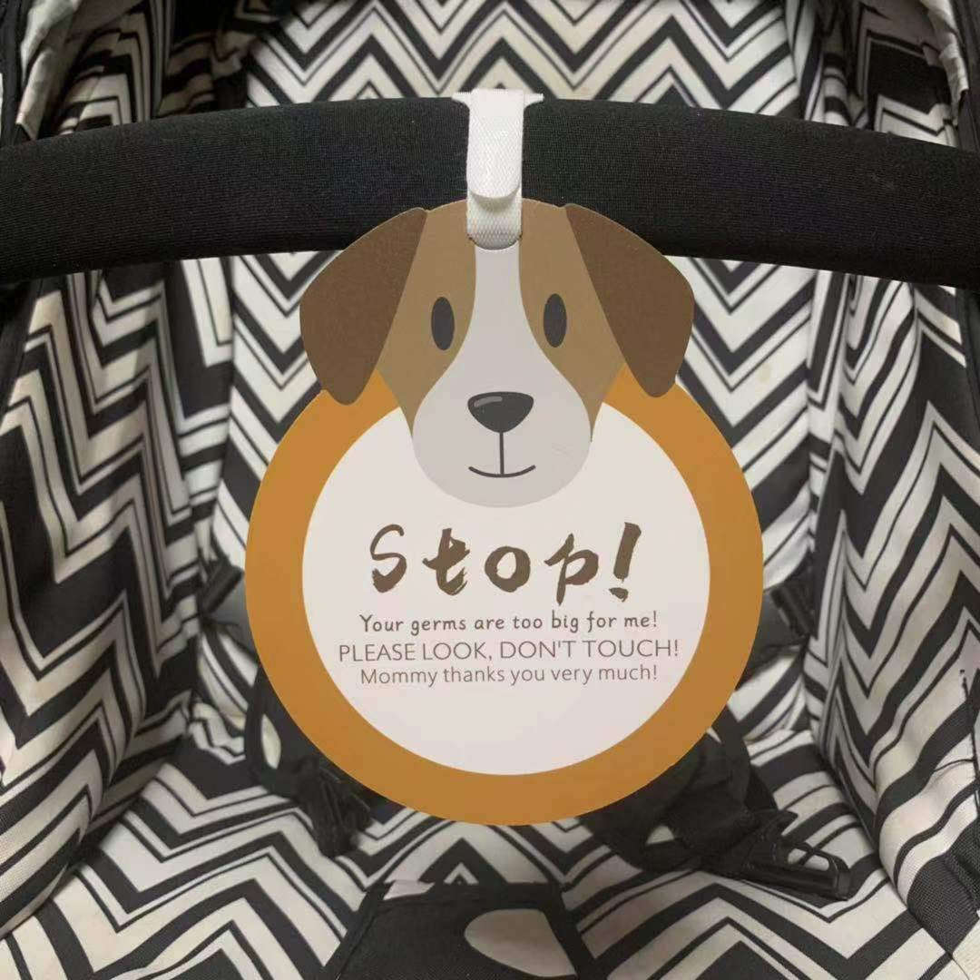 Girl Sign, Newborn, Baby Tag, Baby Bed Tag,Stroller Tag, Carrycot Basket Tag,Baby Preemie No Touching Sign Tag W//Hanging Straps Puppy-Stop,Please Look,Dont Touch Baby Sign Tag