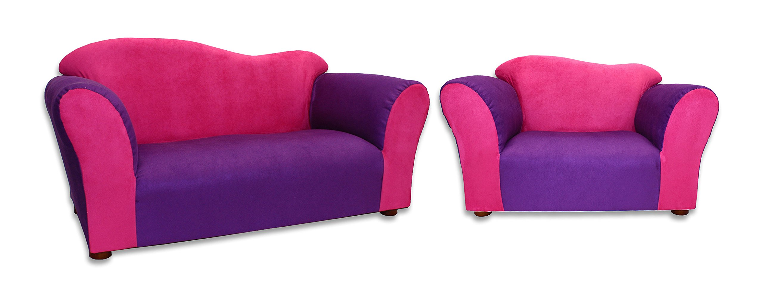 KEET Sofa and Chair Wave Kid's Set, Pink/Purple
