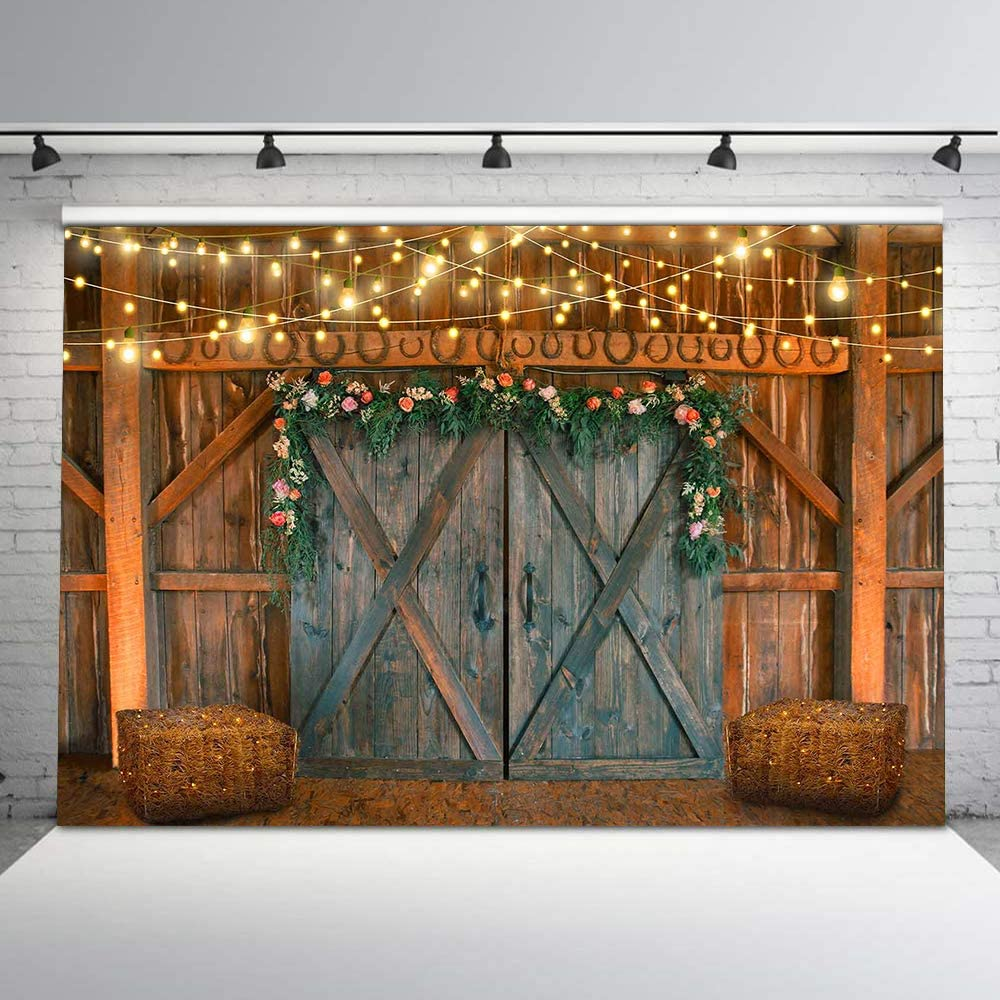 OFILA Farm Barn Door Backdrop 12x10ft Rustic Party Photography Background Countryside Concert Photos Rustic Wedding Background Cowboy Party Birthday Portraits Autumn Festival Photo Props