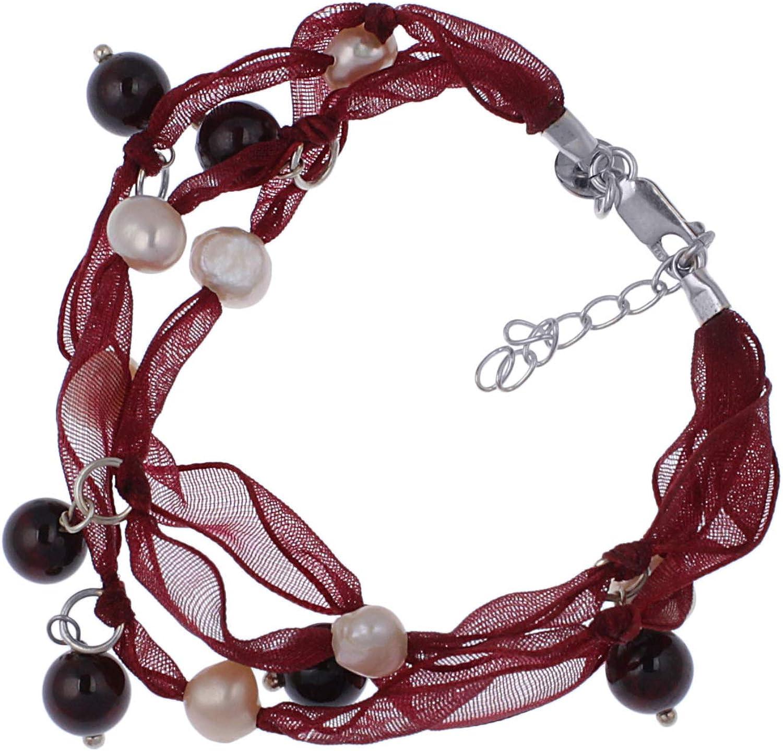 jewel24perlas de pulsera de plata 925con granate Cría de de perlas de agua dulce 19–22cm