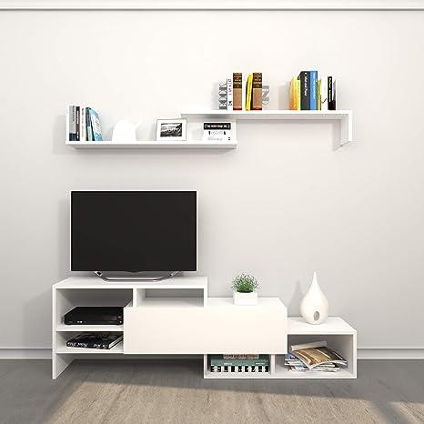 THETA DESIGN by Homemania Porta TV, Mobile TV Fenice, Bianco: Amazon ...