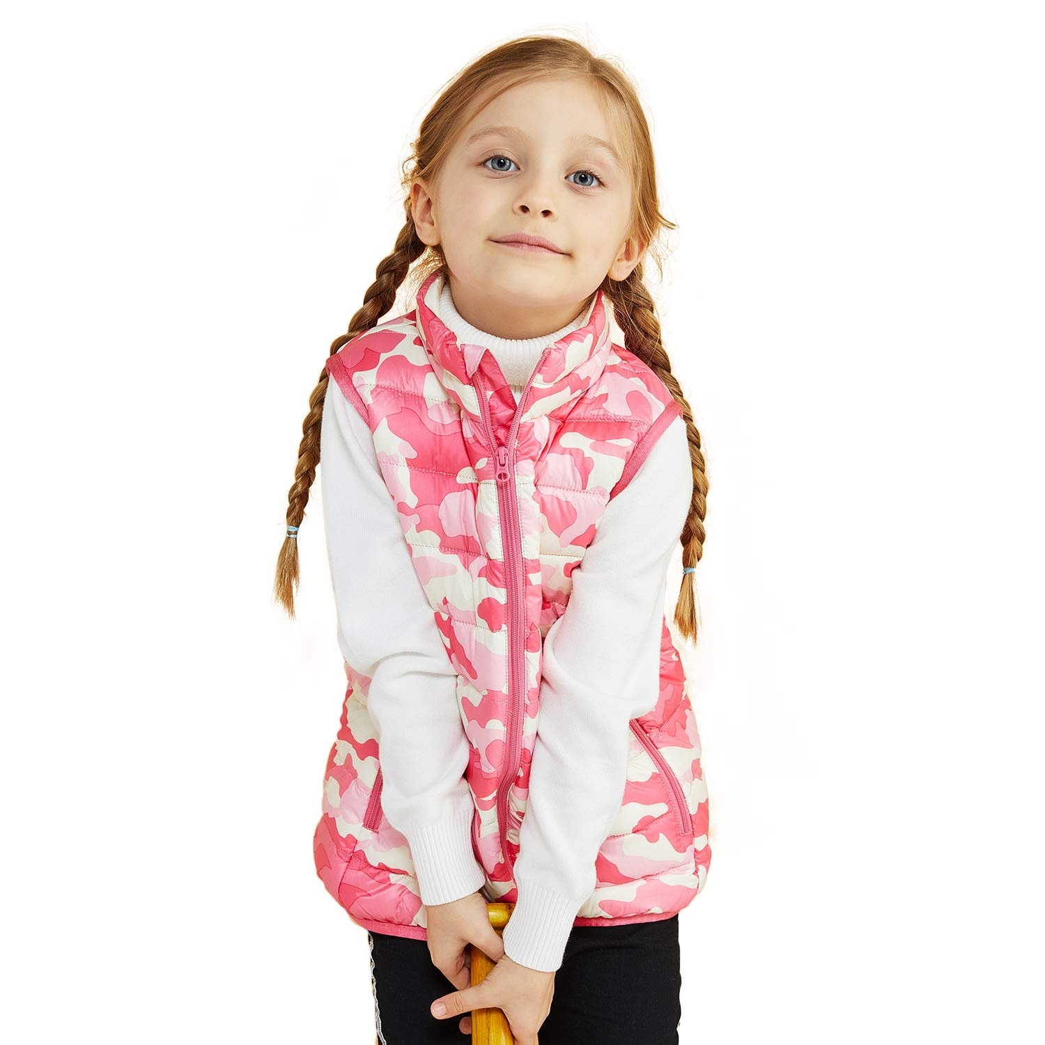 BOSIDENG Kids' Camo Collar Baby Boy and Girl Comfy Down Vest with Pockets for Winter