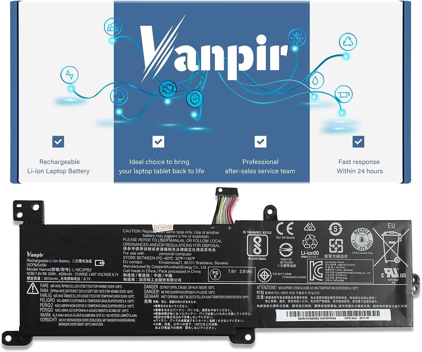 Vanpir L16C2PB2 Laptop Battery, Compatible with Lenovo IdeaPad S145-14API/15API 320-14AST/14IAP/14IKB 320-15ABR/15AST/15IAP Series Notebook L16S2PB1 L16C2PB1 L17L2PF1 L17M2PB7 L16L2PB2 L16M2PB2