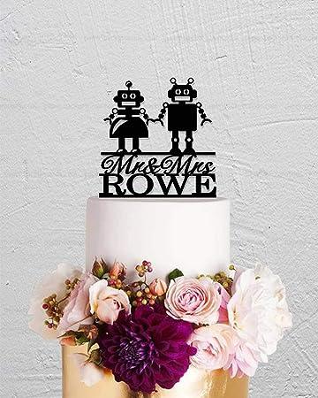 Decoración para tarta de boda con diseño de robot para parejas y apellidos: Amazon.es: Hogar