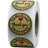 "Hybsk(TM) 1.5"" Inch Round Kraft Paper Thank You Hand Made With Love With Red Heart Stickers Total 500 Adhesive Labels Per Roll"