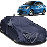 Autofact Car Body Cover Compatible for Honda Amaze (2011/2013/ 2013/2014 / 2015/2016 / 2017) with Mirror and Antenna Pockets (Navy Blue)