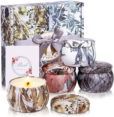 Imagen deVelas Perfumadas Regalo(Pack de Regalo 4),Velas Aromaticas,Soja Velas en Frasco con limón,Lavanda,Higo para Dormitorio Yoga Aliviar la Presión Navidad Cumpleaños Regalos de Mujer (Gray)