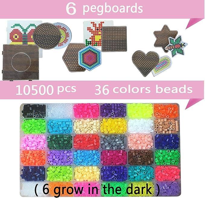brillar en obscurit/é DE Les grains DIY de perler bo/îte de fusibles ensemble de perles de 5/mm Hama beads,36/Couleur lot de 10500/PCS breloques perler